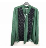 Summum 2s2106-10643 650 women top bow tie minimal print viscose emerald green groen