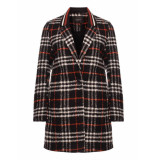 Maison Scotch 146199 19 bonded wool jacket with striped rib collar in check & solids combo c zwart
