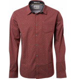 No Excess Shirt, l/sl, allover printed, stret plum rood
