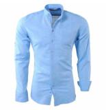 Ferlucci Linnen heren overhemd borstzak slim fit lucca blauw