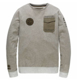 PME Legend Long sleeve r-neck light terry grey melee grijs