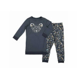Charlie Choe Pyjama set girls animal trail antraci zwart