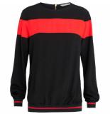 Summum 2s2104-10644 980 women top long sleeve viscose black-flame red zwart
