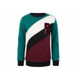 Retour Sweater colorblock flip groen