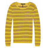 Maison Scotch Knitted crew neck in stripes with l combo a geel