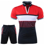 Paname Brothers Heren polo & short complete set slim fit seny rood