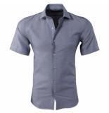 Pradz 2018 Heren korte mouw overhemd slim fit donker grijs