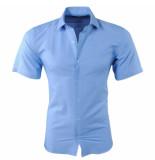 Pradz 2018 Heren korte mouw overhemd met trendy design slim fit blauw