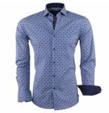 Dom Tower Heren overhemd met trendy design slim fit stretch blauw