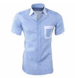 Louis Fabel Heren overhemd korte mouw a622 wit blauw