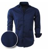 Chamberlain Heren overhemd met wit motief slimfit/stretch blauw