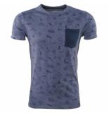 Earthbound Heren tshirt met design ronde hals borstzak blauw