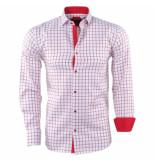 Pradz 2018 Heren overhemd geblokt rood wit