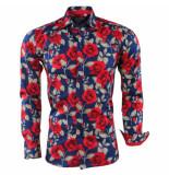 Bravo Jeans Heren overhemd slim fit rozen rood navy blauw