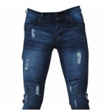 Bravo Jeans Heren jeans damaged look raugh line slim fit stretch lengte 34 blauw