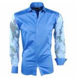 Pradz 2018 Heren overhemd slim fit bloemen blauw