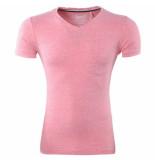 Earthbound Heren tshirt vhals borstzak slim fit koraal roze