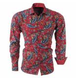 Bravo Jeans Heren overhemd paisley slim fit bordeaux