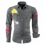 Nickelson Heren overhemd borstzakken color splash rozen slim fit kaki khaki