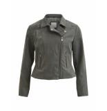 VILA Jasje vimasi faux leather jacket grijs
