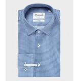 Michaelis Blokpatroon poplin overhemd (extra lange mouw) blauw