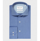 Michaelis Midden twill overhemd van (extra lange mouw) blauw