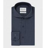 Michaelis Navy birdseye overhemd (extra lange mouwen) blauw