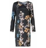 YAYA Dress with round neckline and black dessin zwart