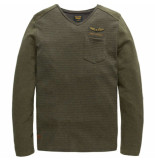 PME Legend V-neck jacquard jersey betts beluga groen