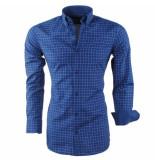 Montazinni Heren overhemd geblokt sax blauw