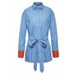 DIDI Gestreepte blouse met strikceintuur blauw