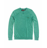 Superdry Trui garment dye la crew washedcape green groen