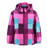 Color Kids Roze met turquoise geruite meisjes ski jas dikson 10.000mm waterkolom