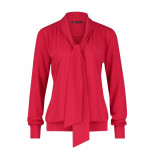 Expresso T-shirt top lsl blouse bow neck rood