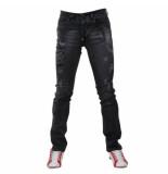 Bravo Jeans Heren jeans damaged look slim fit stretch lengte 32 zwart