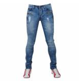 Bravo Jeans Heren jeans damaged look paint splash slim fit stretch lengte 32 blauw