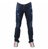 Cobbelti Heren jeans damaged look paint splash lengte 34 stretch denim blauw