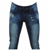 Hakkers Paris Heren jeans white wash slim fit stretch lengte 34 donker blauw