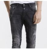 Pascucci Heren jeans white wash damaged look skull slim fit stretch lengte 34 zwart