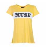 Colourful Rebel Muse basic tee geel