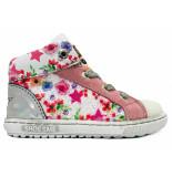 Shoesme Wiite veterschoenen bloemen extreme flex wit