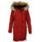 Macleria Lange winterjas rood