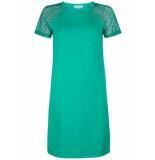 Tramontana Dress sweat lace sleeves emerald groen