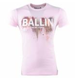 Ballin New York Heren tshirt ronde hals slim fit paint splash roze