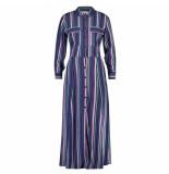 Freebird Maxi jurk gabriella blue multi stripe blauw