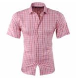 Pradz 2018 Heren korte mouw overhemd geblokt slim fit koraal roze