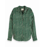 Maison Scotch 149789 17 oversized boxy fit cotton viscose shirt in various prints combo a groen