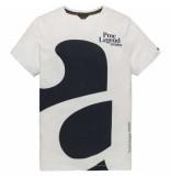 PME Legend Short sleeve r-neck slub jersey bright white beige