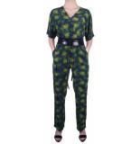 Geisha Jumpsuits blue/green comb groen