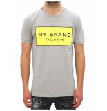 My Brand Logo branding t-shirt grijs/geel